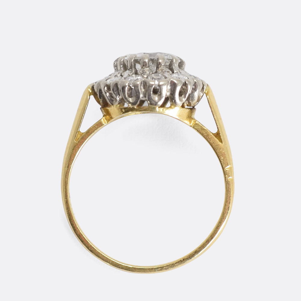 Edwardian 1.5 Carat Diamond Cluster Ring