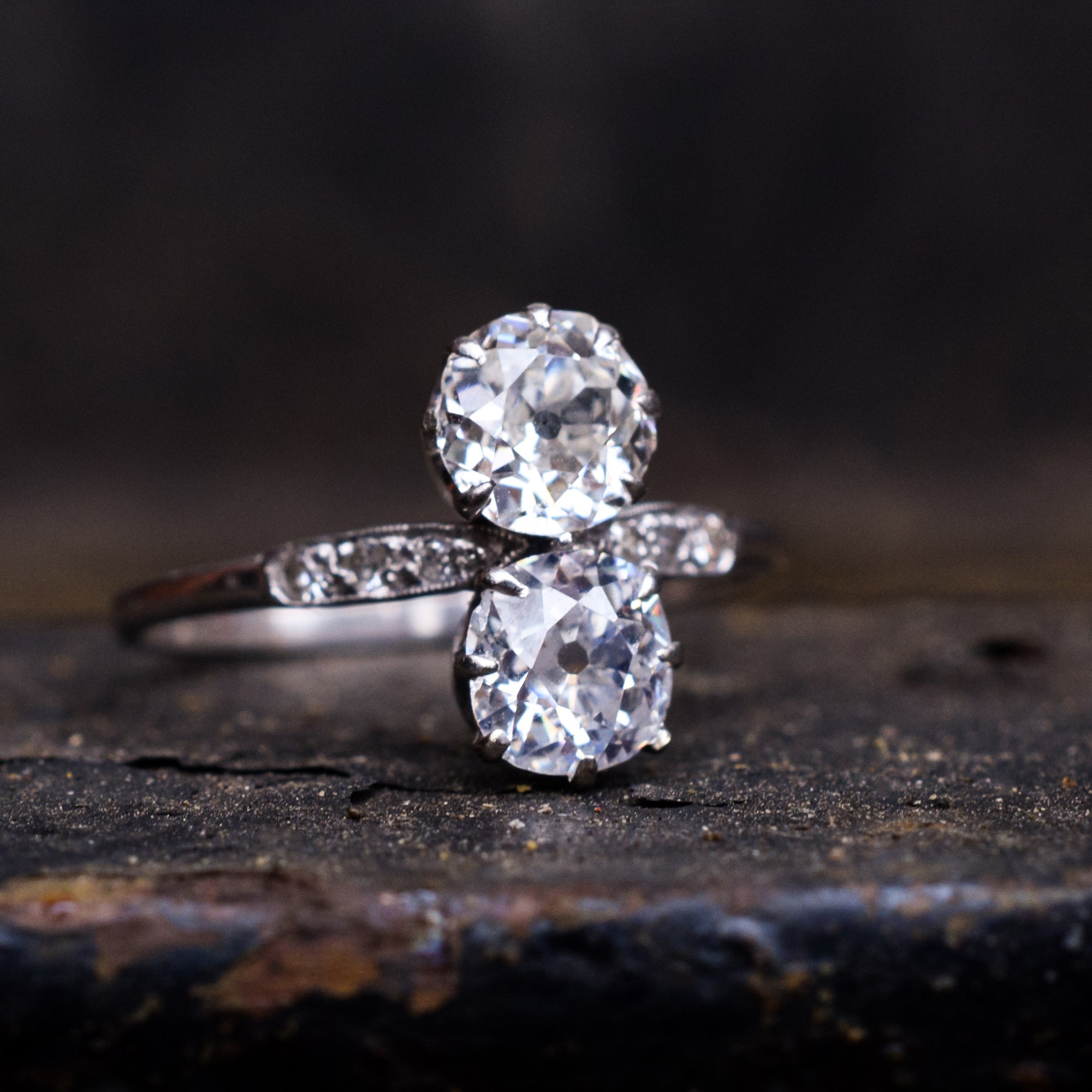 Edwardian 1 62ct Old Mine Cut Diamond Toi Et Moi Ring Butter