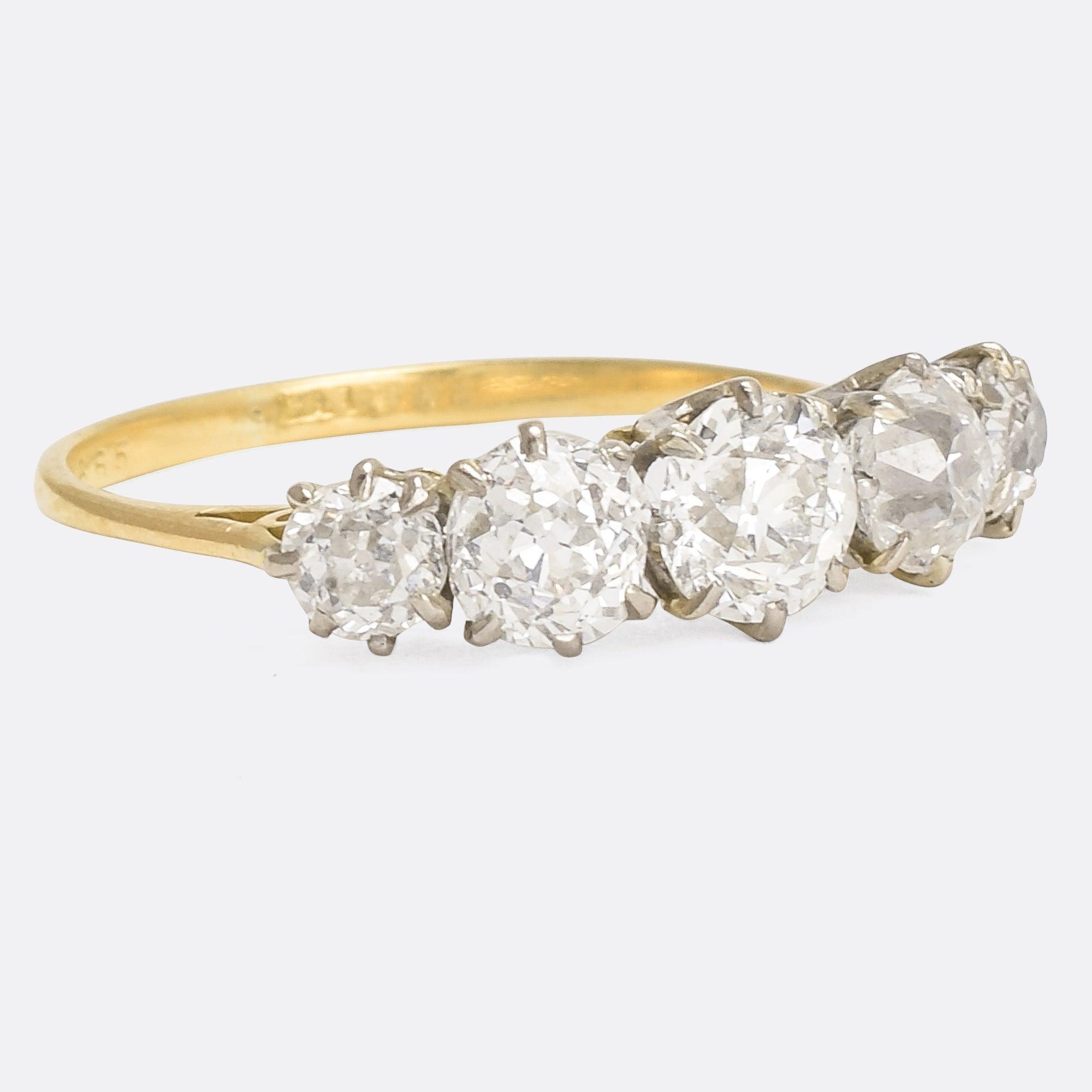 ef8ab8d72e5f29 Edwardian 1.75ct Old Cut Diamond 5-Stone Ring – Butter Lane Antiques