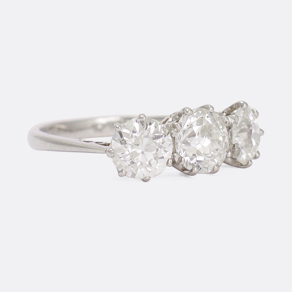 Edwardian 2.85ct Old Euro Diamond Three-Stone Ring