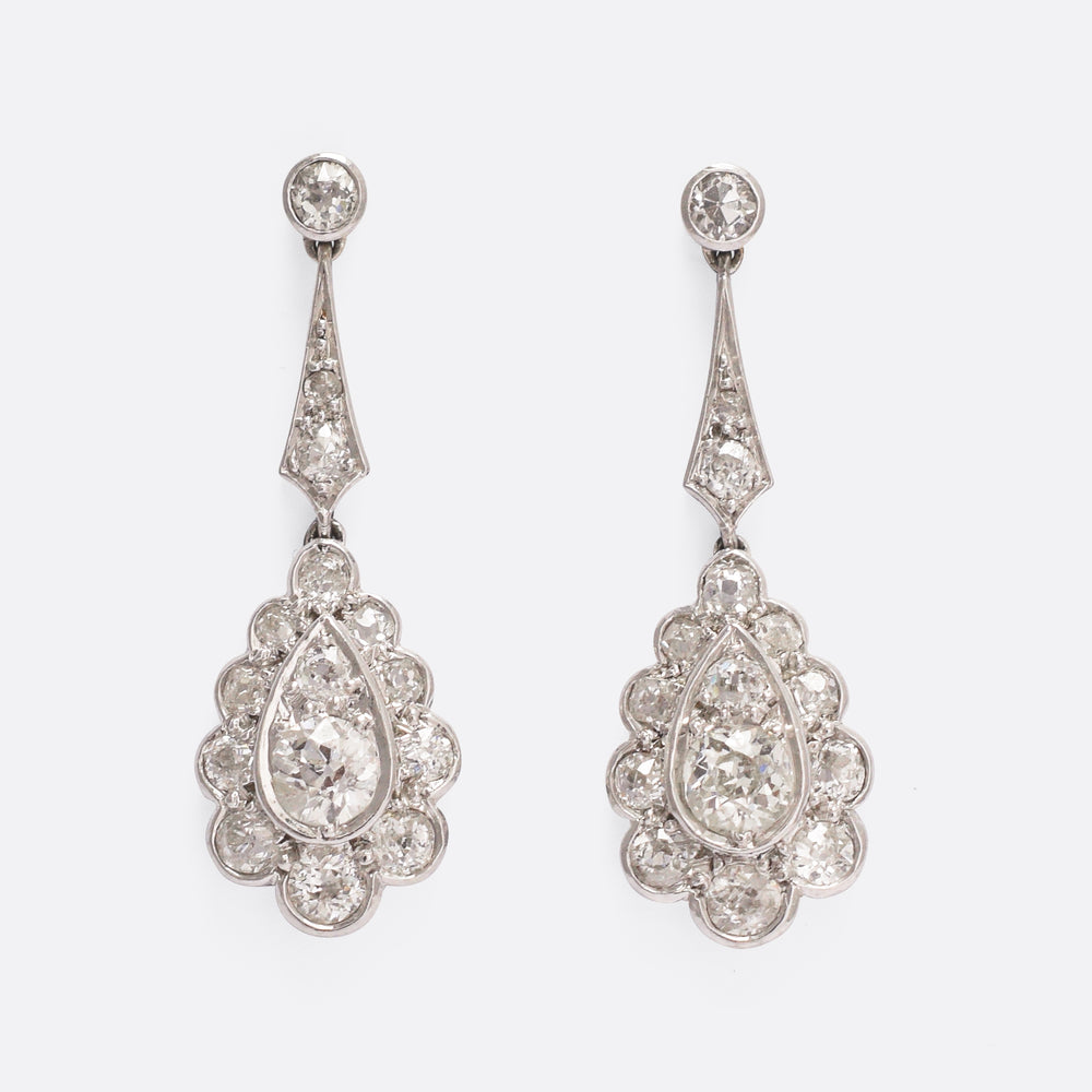 Edwardian 2 Carat Diamond Drop Earrings