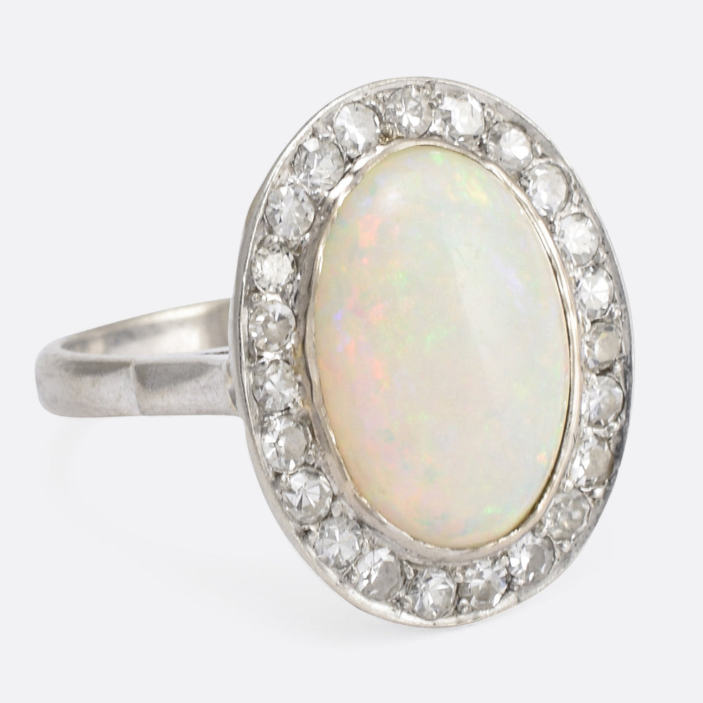 Edwardian 3.5ct Opal & Diamond Cocktail Ring