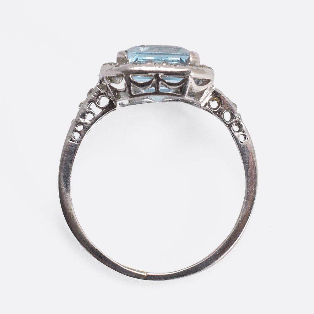 Edwardian Aquamarine & Diamond Engagement Ring