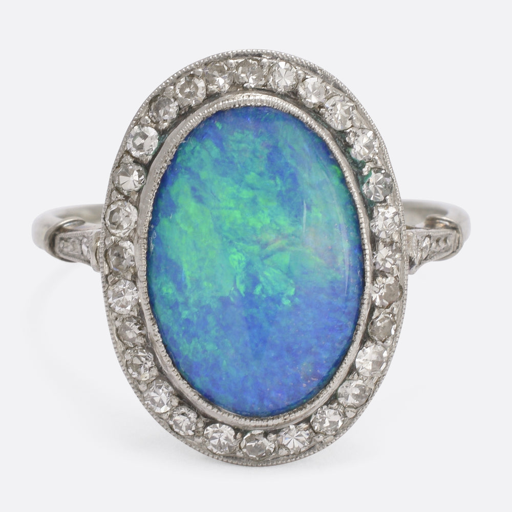 Edwardian Black Opal Cocktail Ring