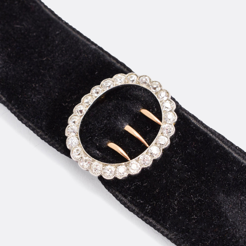 Edwardian Black Velvet Collar with Diamond Buckle