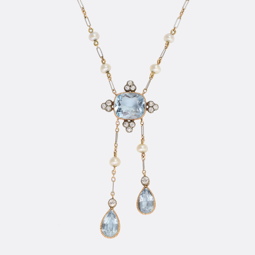 Edwardian Diamond & Aquamarine Negligee Necklace