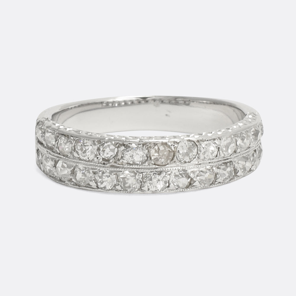 Edwardian Diamond Double Row Ring