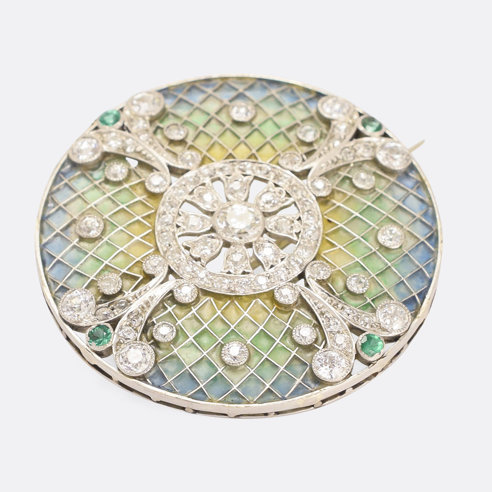 Edwardian Diamond & Emerald Plique-à-Jour Disc Brooch