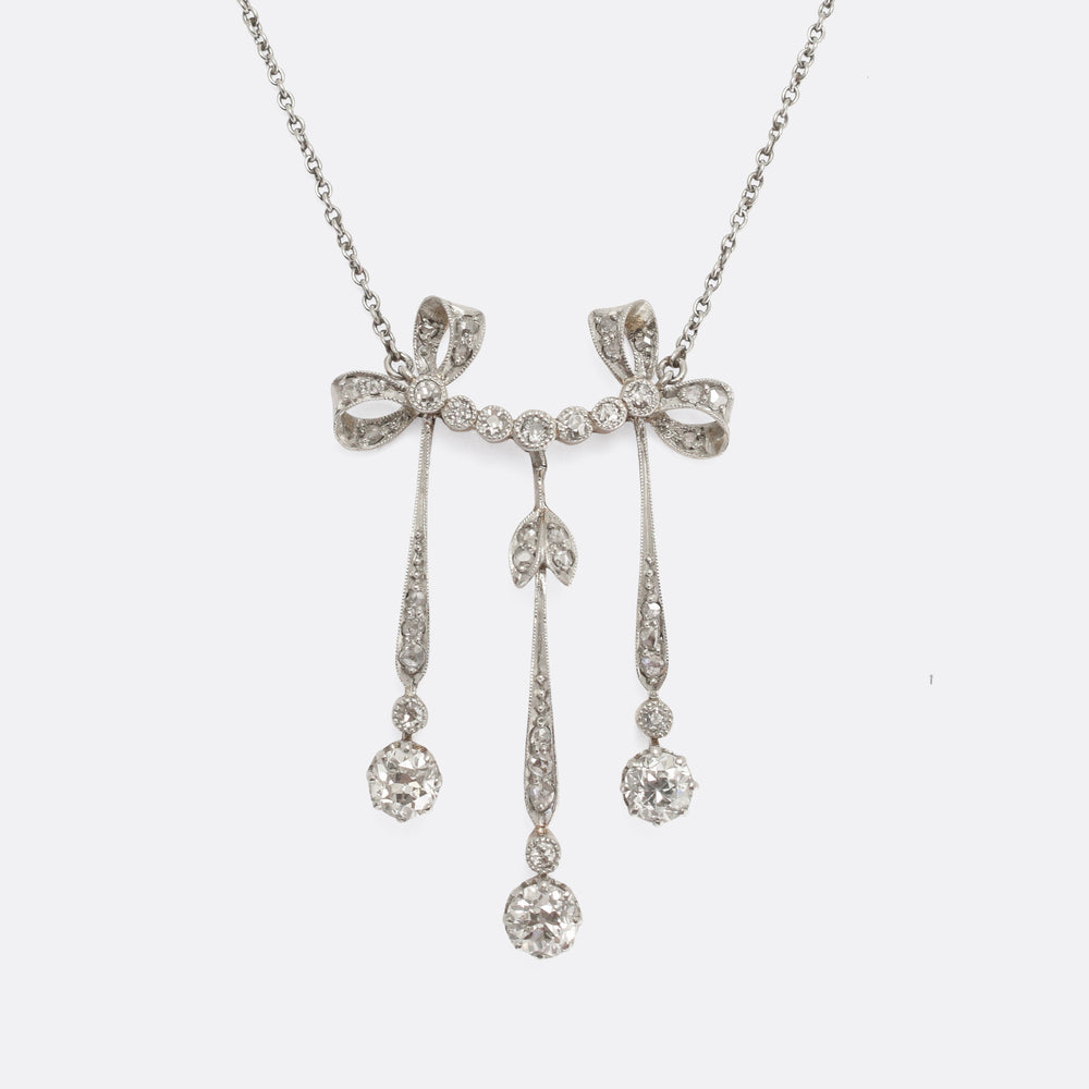Edwardian Diamond Millegrain Negligee Necklace
