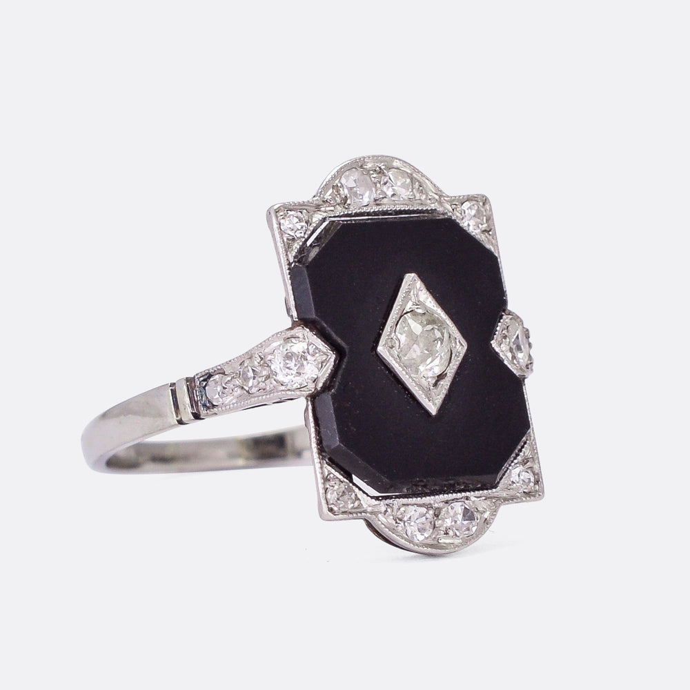 Edwardian Diamond & Onyx Panel Ring
