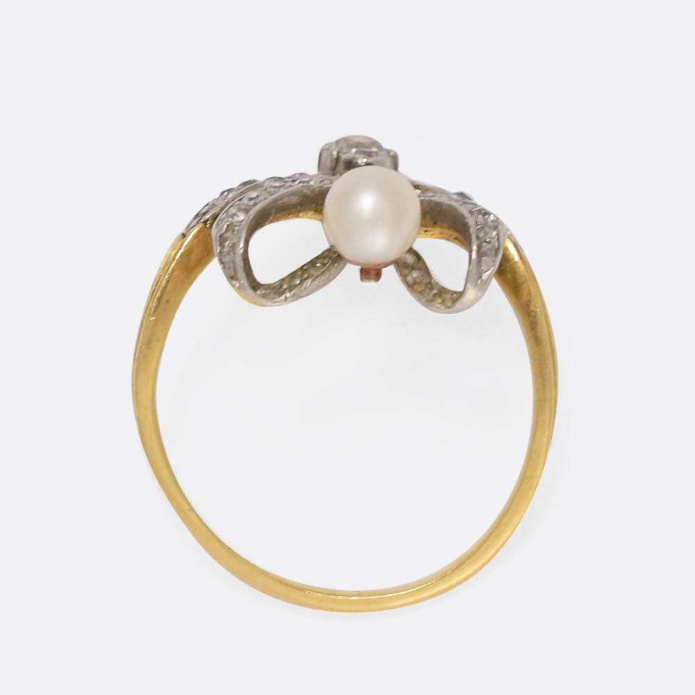 Edwardian Diamond & Pearl Belle Époque Ring