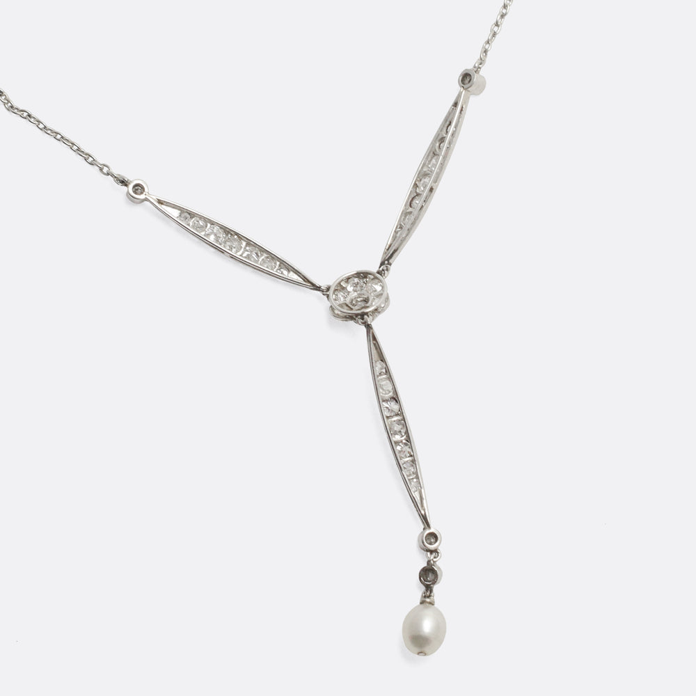 Edwardian Diamond & Pearl Platinum Necklace