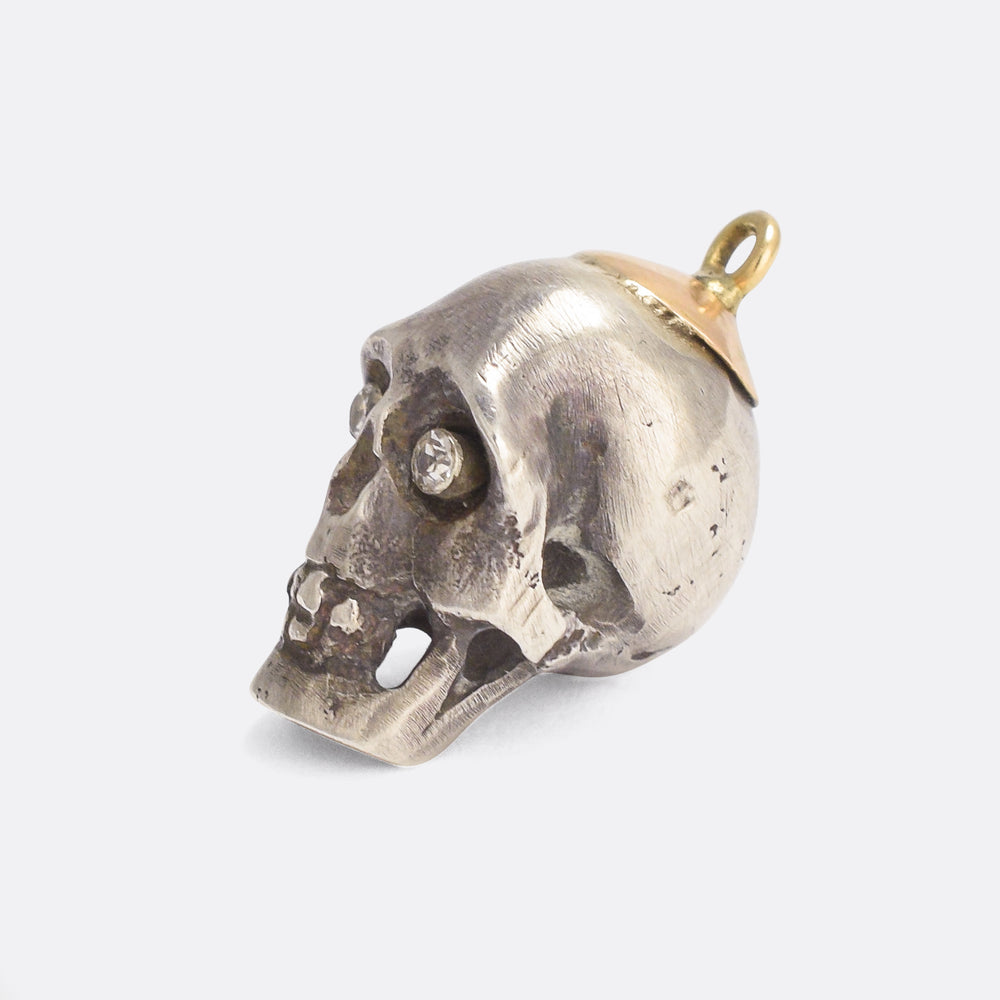 Edwardian Diamond Skull Pendant