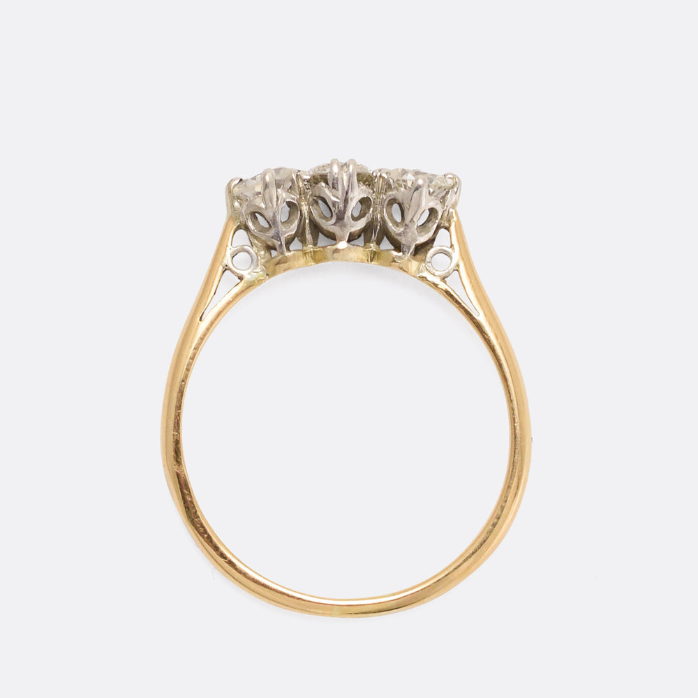 Edwardian Diamond Three-Stone Trilogy Ring