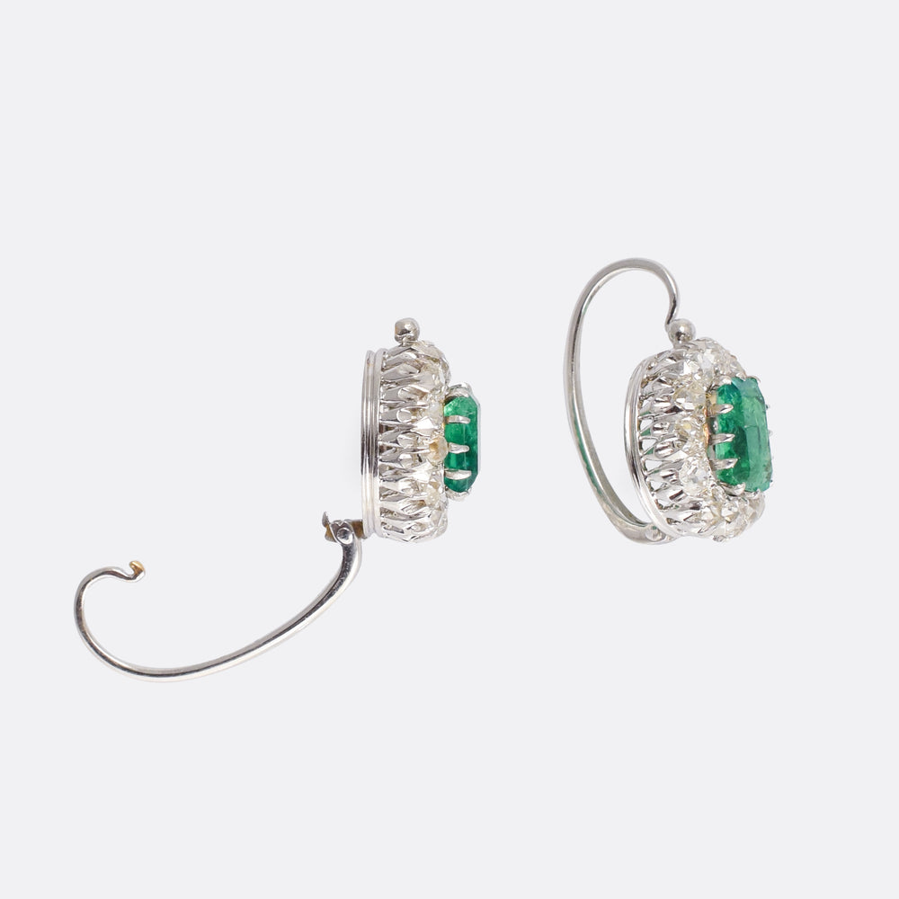 Edwardian Emerald & Diamond Cluster Earrings