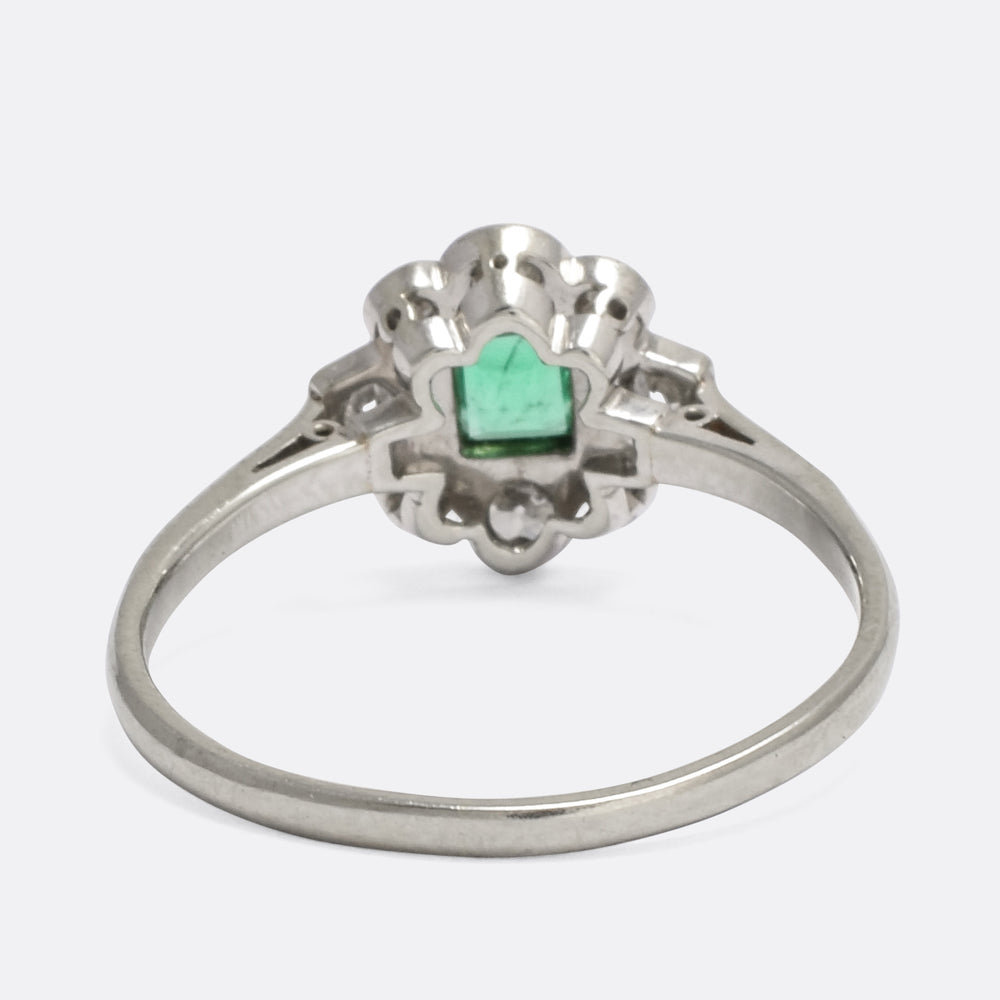 Edwardian Emerald & Diamond Cluster Ring