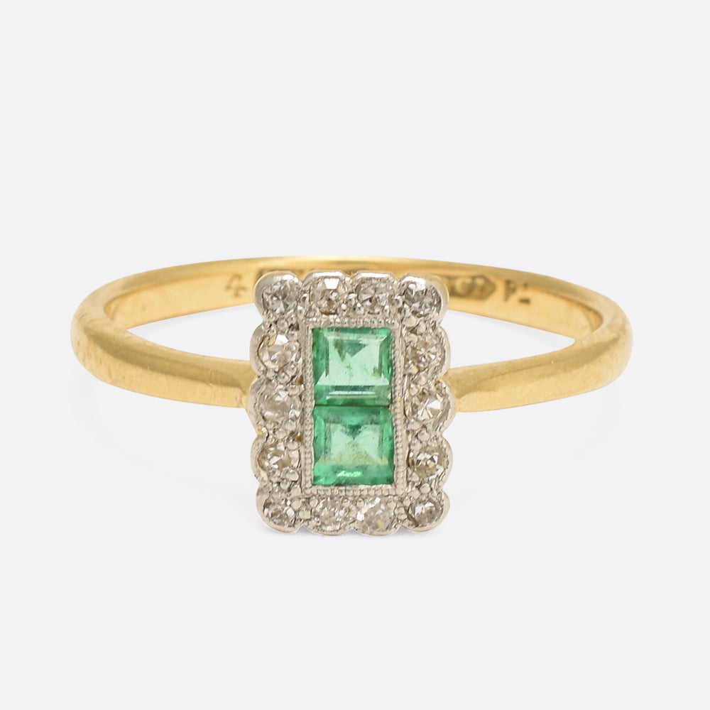 Edwardian Emerald & Diamond Picture Frame Ring