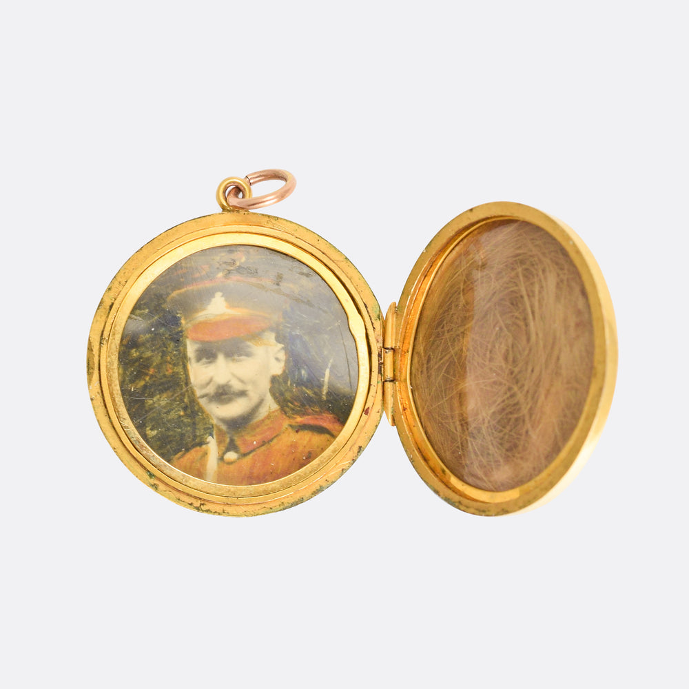 Edwardian Engine Turned Sun Rays Round Locket