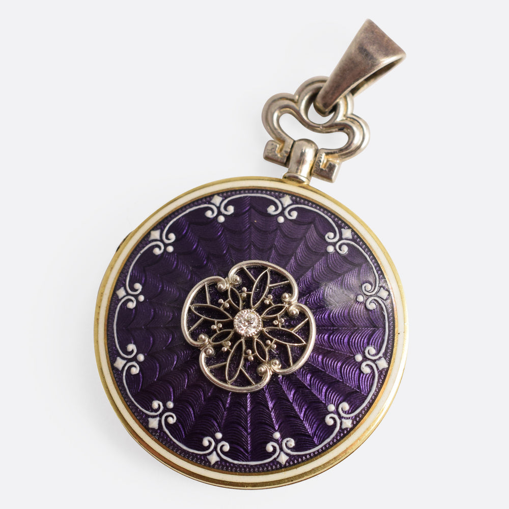 Edwardian Guilloché Enamel Diamond Locket