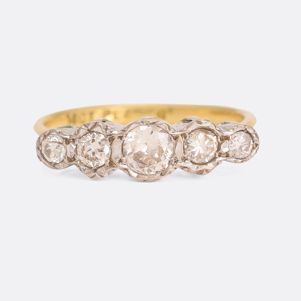 Edwardian Old Cut Diamond Five-Stone Ring