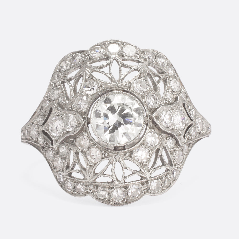 Edwardian Old Cut Diamond Openworked Cluster Ring