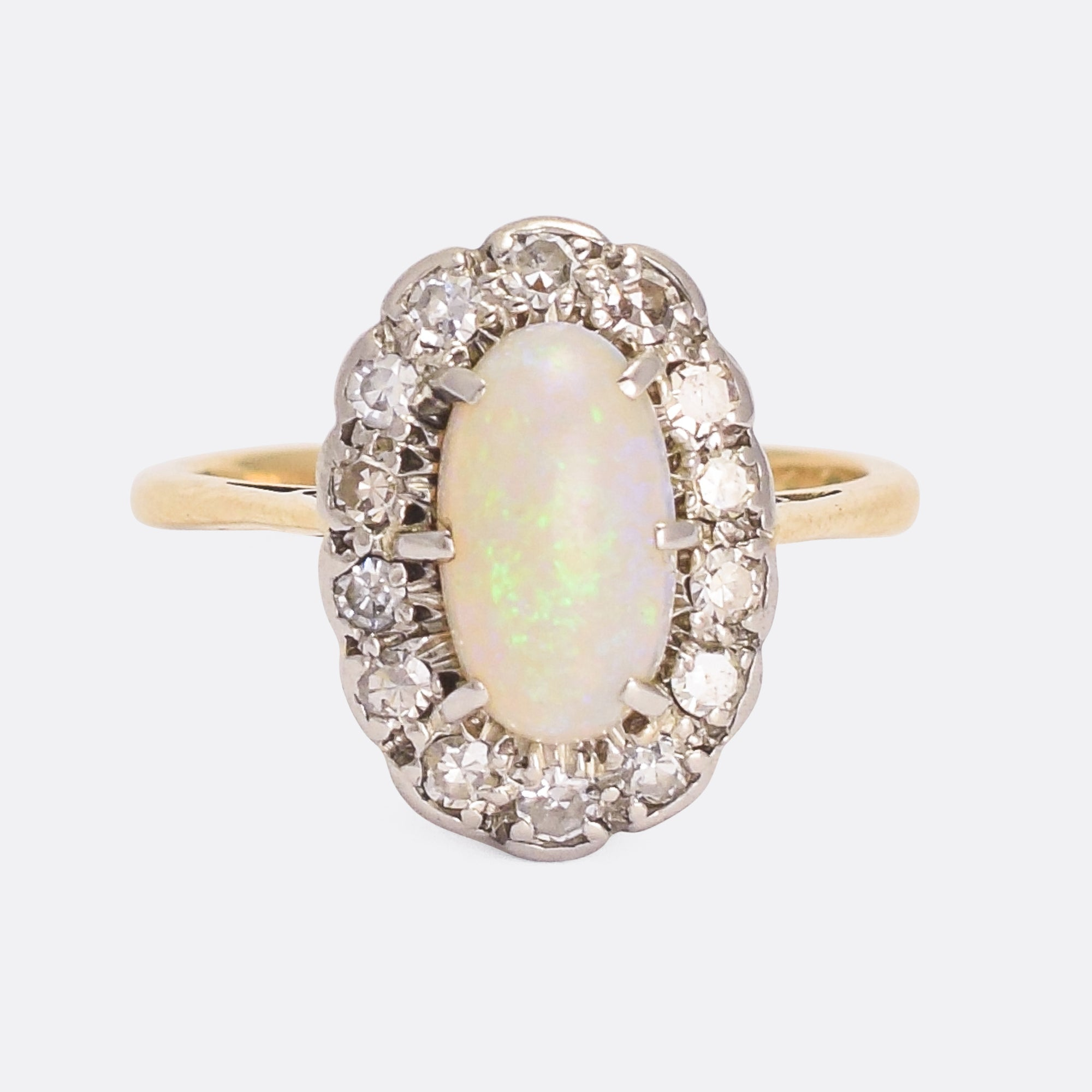 ebd0fdf2c99ba6 Edwardian Opal & Diamond Oval Cluster Ring – Butter Lane Antiques