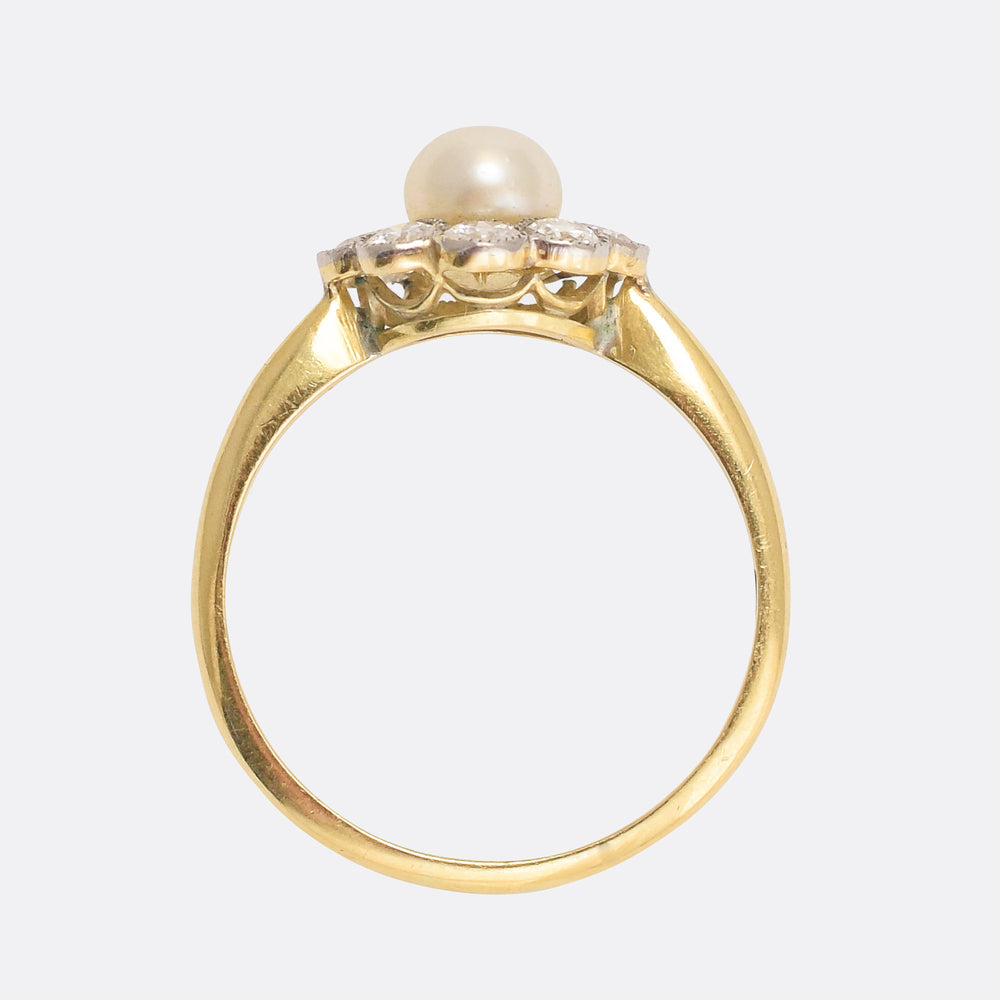 Edwardian Pearl & Diamond Flower Ring