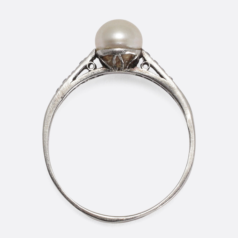 Edwardian Pearl & Diamond Solitaire Ring