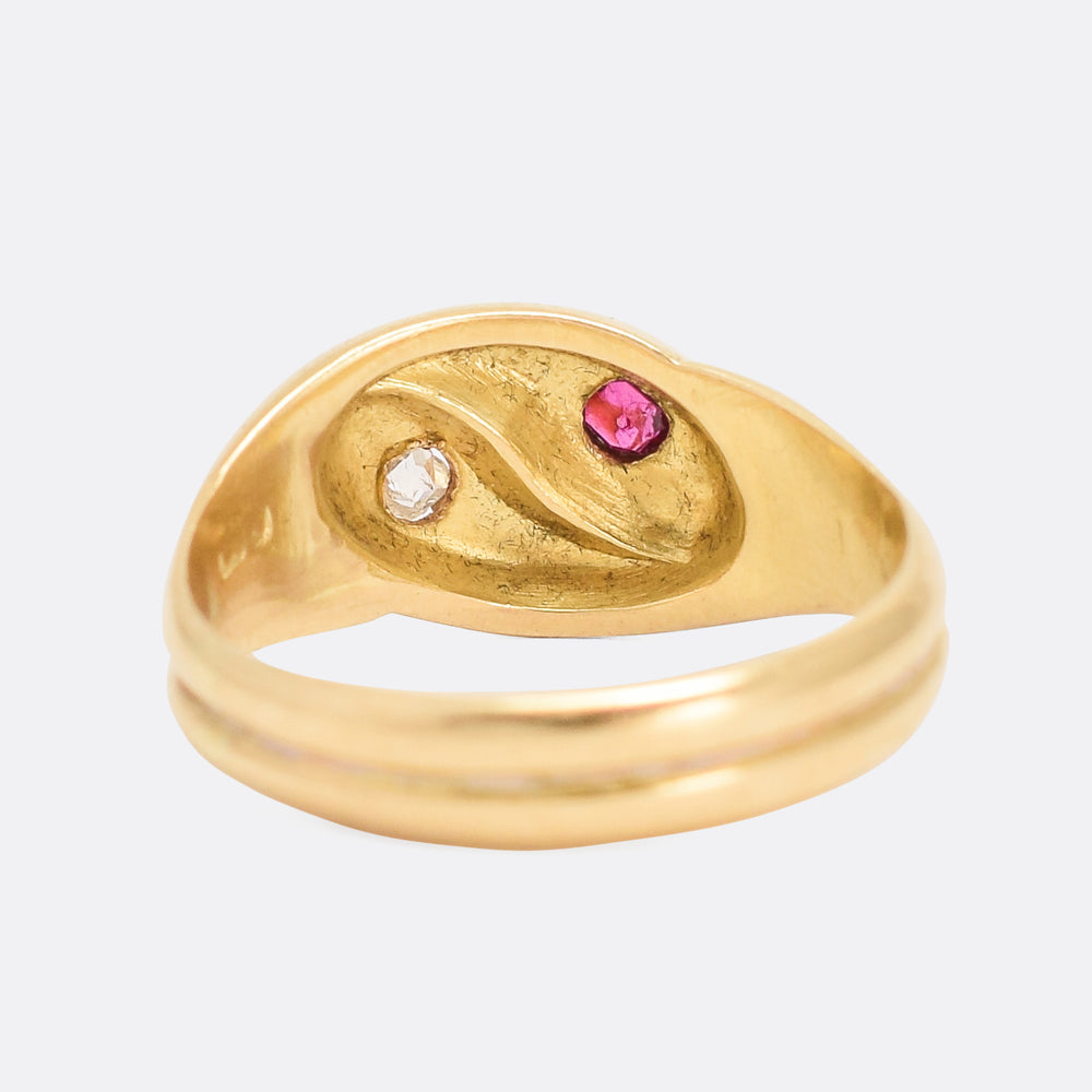 Edwardian Ruby & Diamond Double Snake Ring