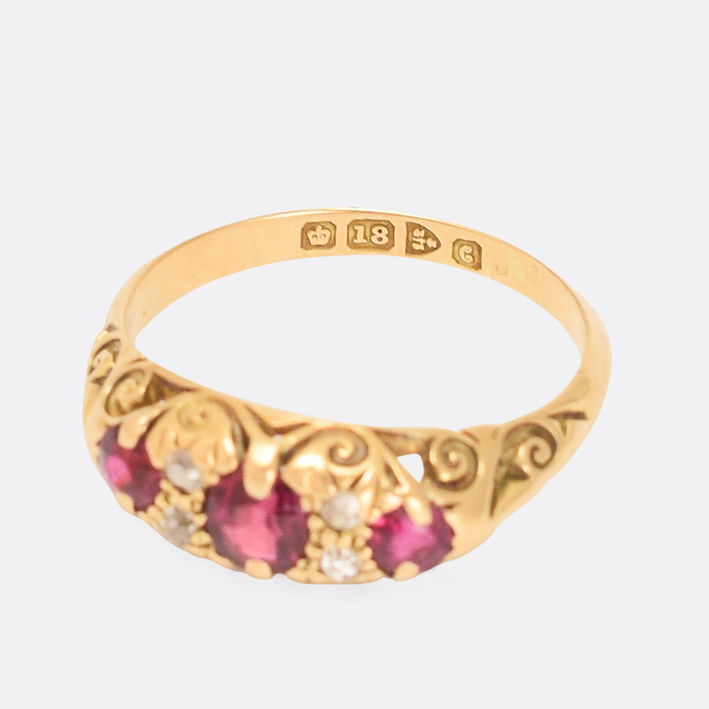 Edwardian Ruby & Diamond Scrolled Gypsy Ring