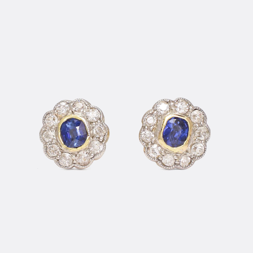 Edwardian Sapphire & Diamond Daisy Stud Earrings