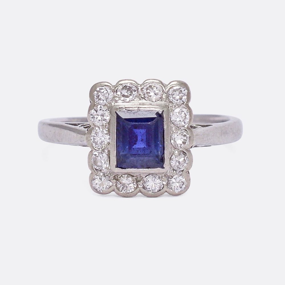 Edwardian Sapphire & Diamond Picture Frame Cluster Ring