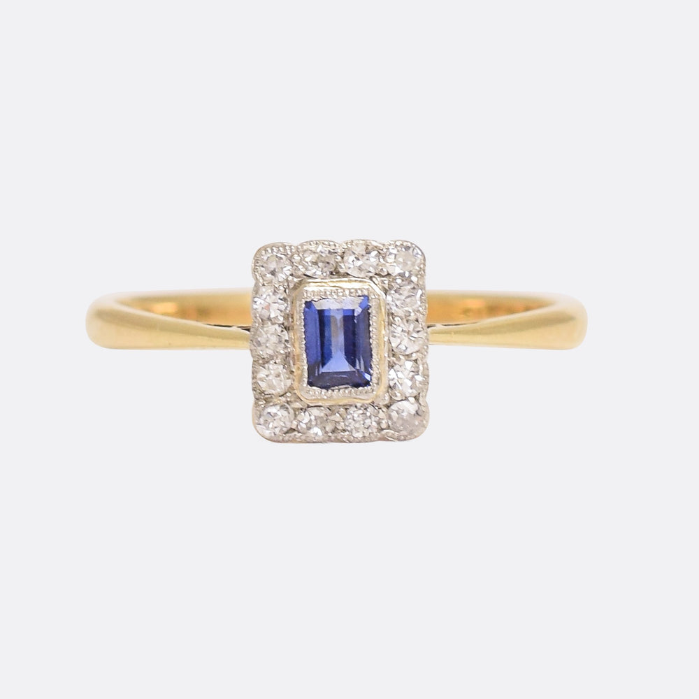 Edwardian Sapphire & Diamond Picture Frame Ring