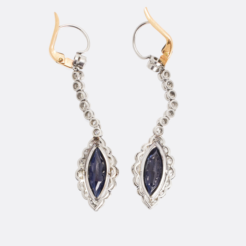 Edwardian Sapphire & Diamond Snake Earrings