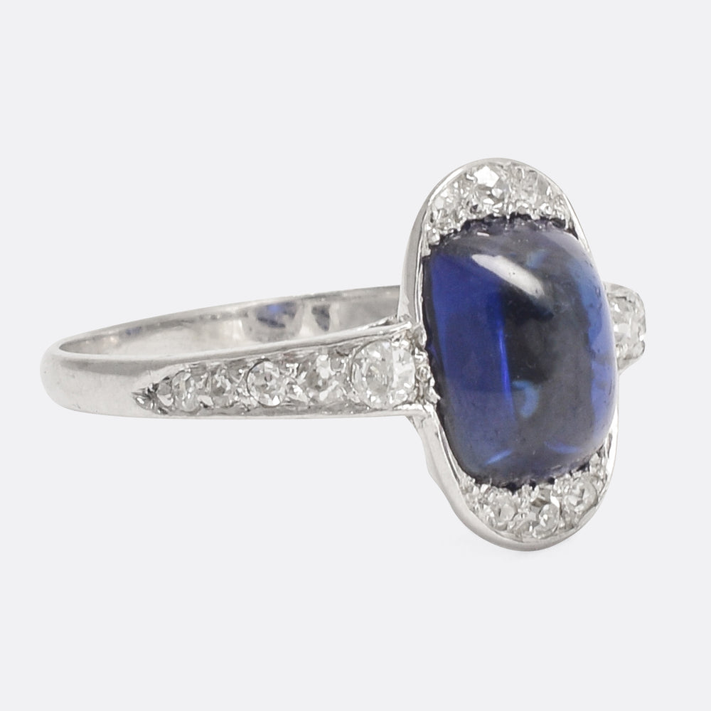 Edwardian Sapphire Sugarloaf Cocktail Ring
