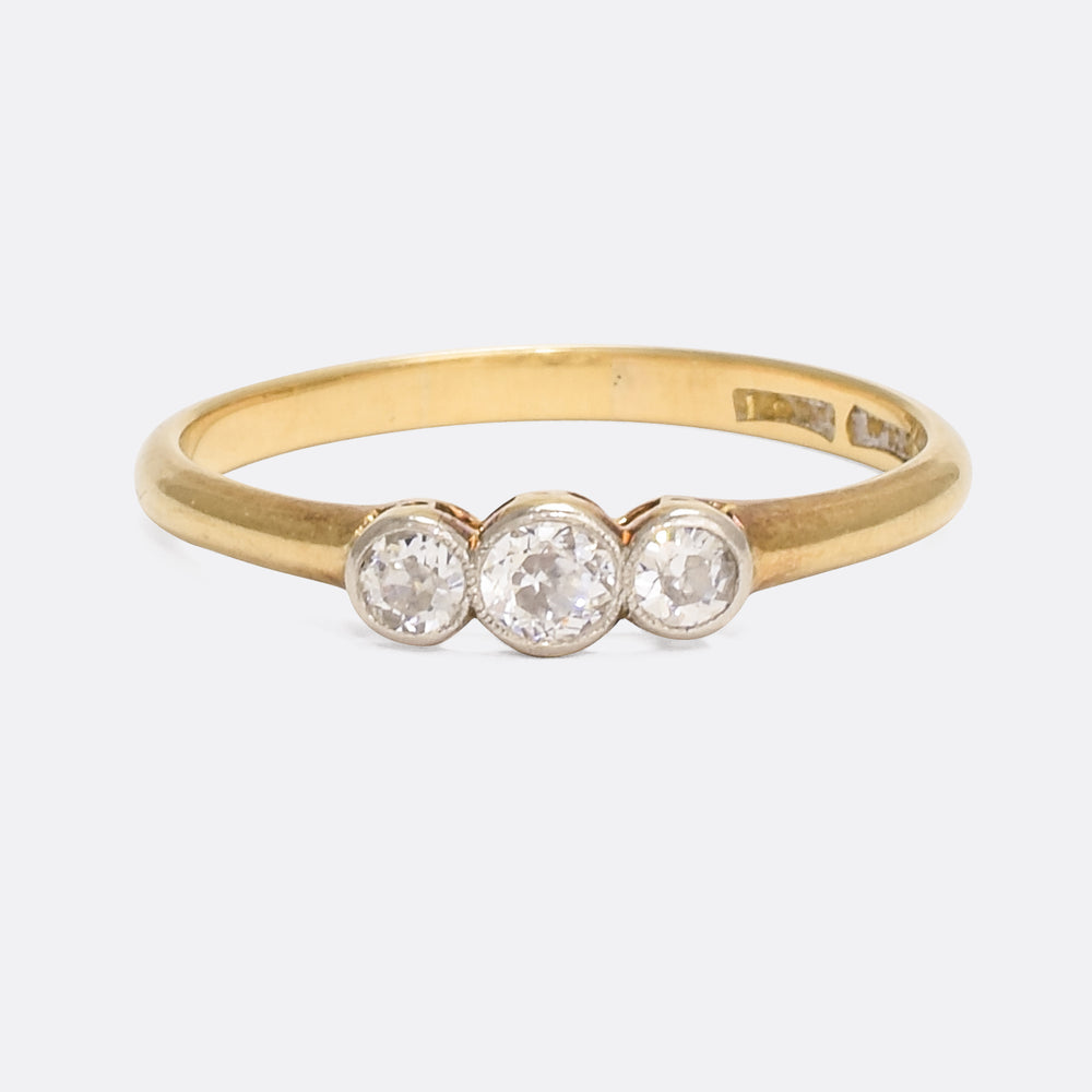 Edwardian Three-Stone Diamond Ring