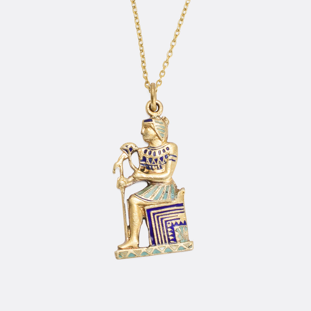 Egyptian Revival Enamel Pendant