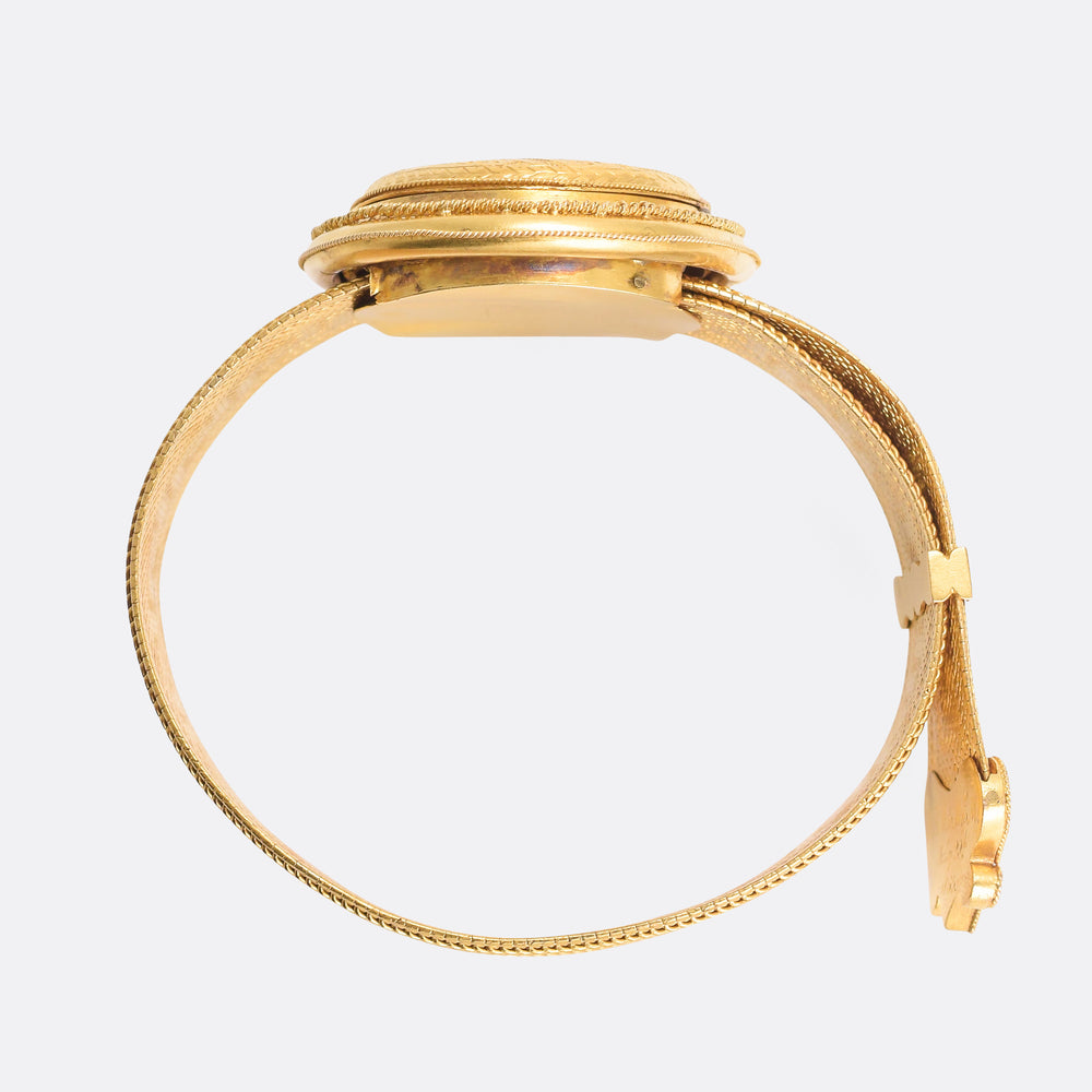 Etruscan Revival 15k Gold Locket Bracelet