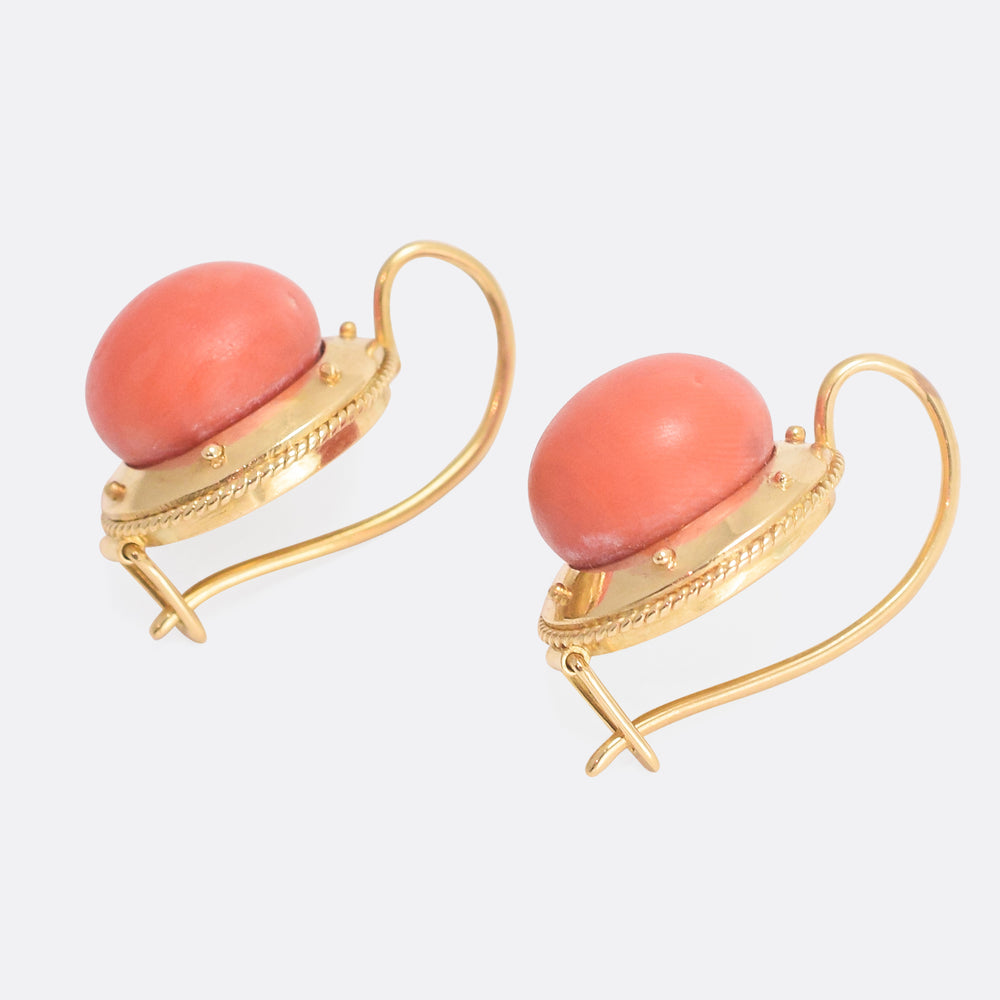 Etruscan Revival Red Coral Earrings
