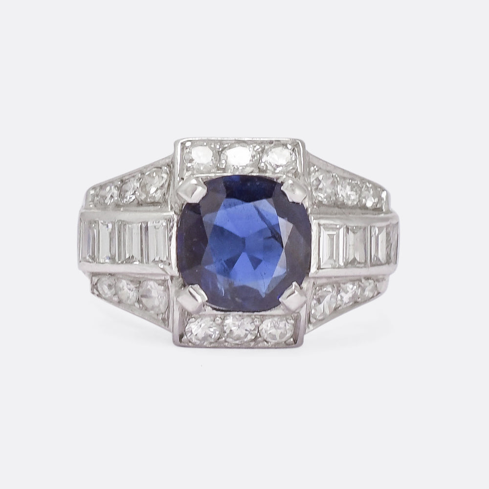 French Art Deco Sapphire & Diamond Cocktail Ring