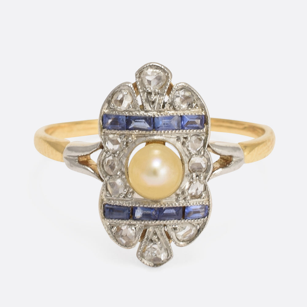 French Art Deco Pearl Sapphire Diamond Ring