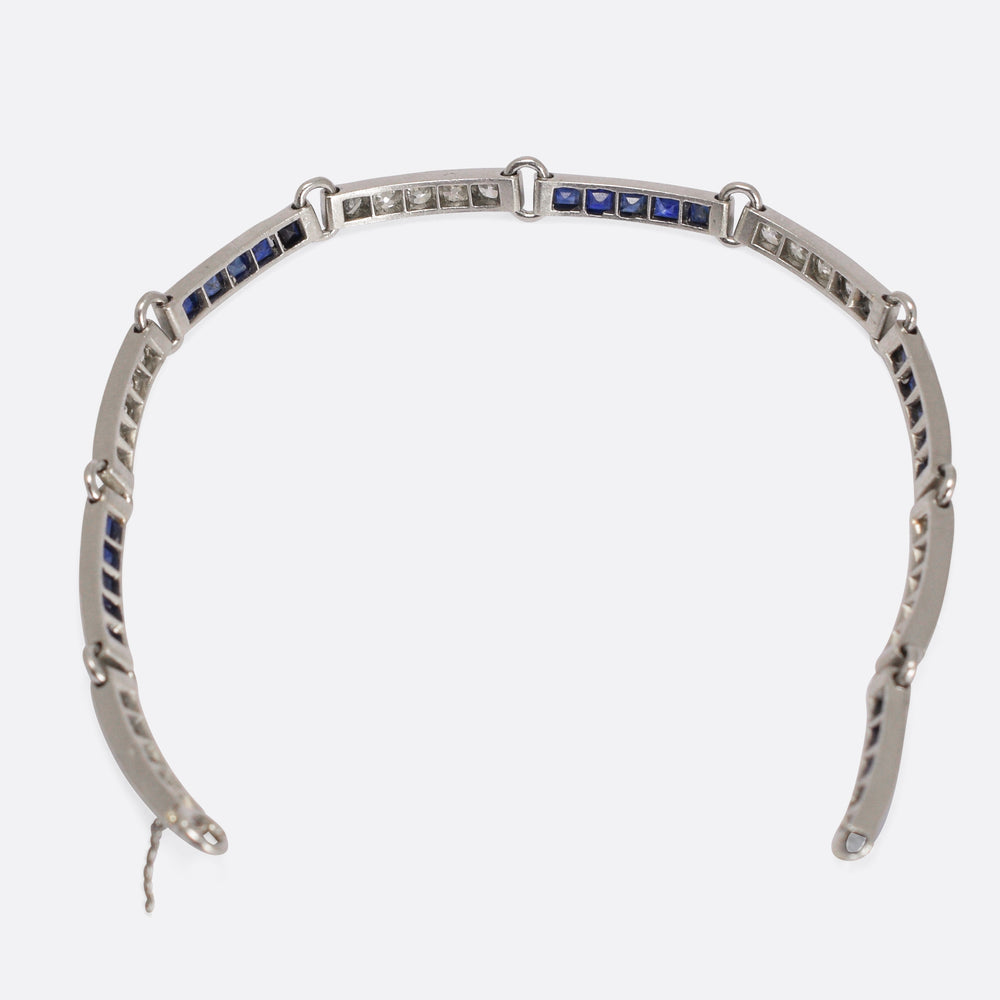 French Art Deco Sapphire & Diamond Bracelet