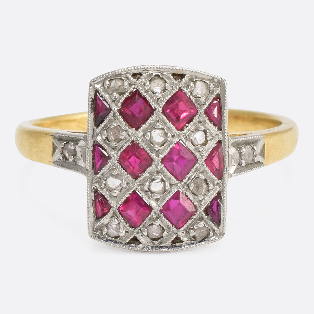 French Edwardian Ruby & Diamond Chequerboard Ring