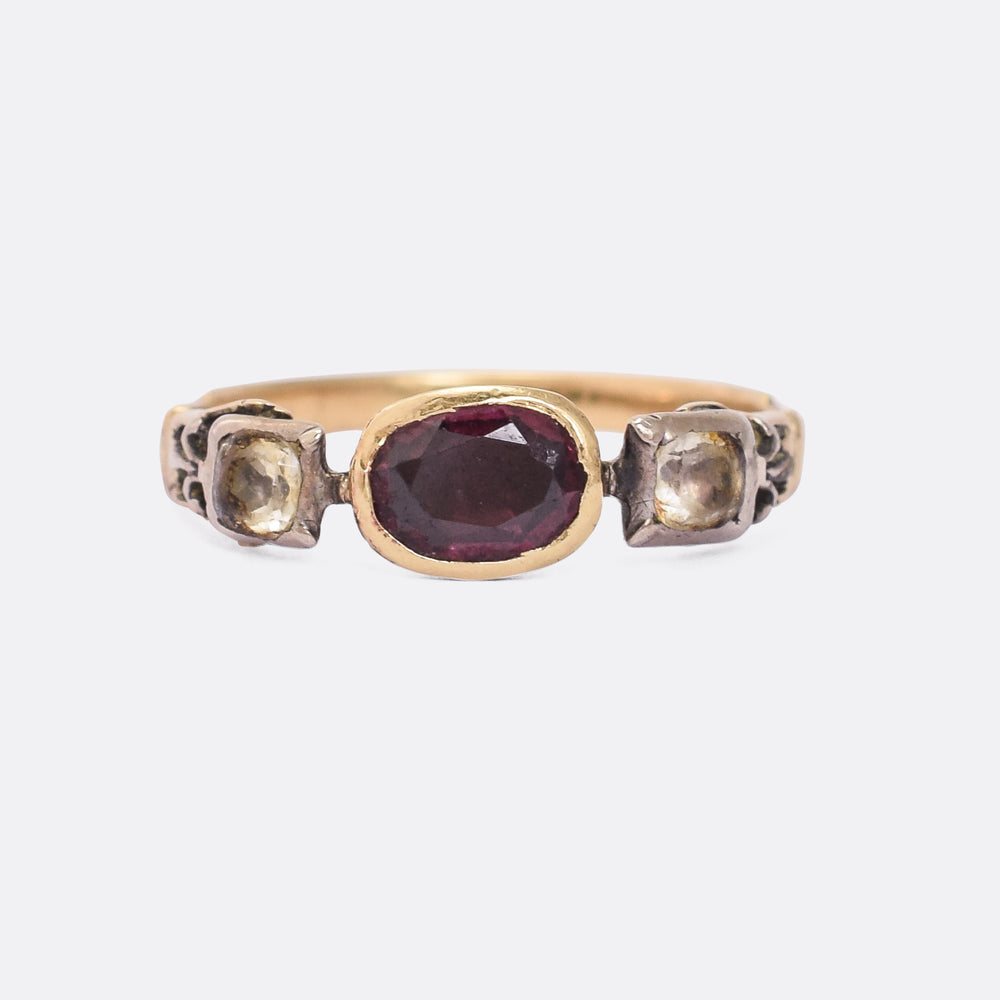 Georgian Almandine Garnet & White Paste Ring