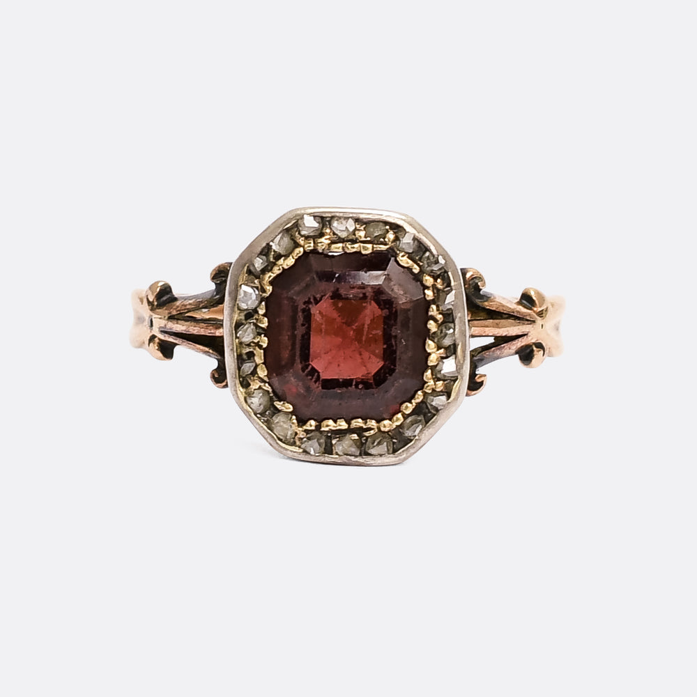 Georgian Flat-Cut Garnet & Diamond Cluster Ring
