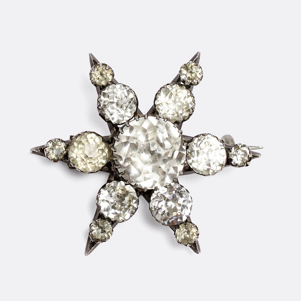 Georgian Rock Crystal Star Brooch