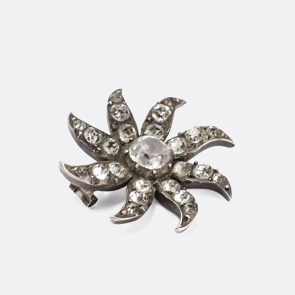 Georgian White Paste Starburst Brooch