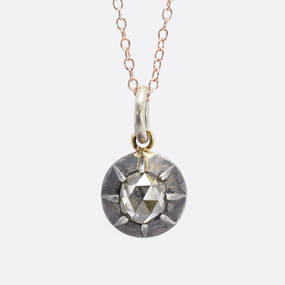 Georgian .80ct Rose Cut Diamond Pendant