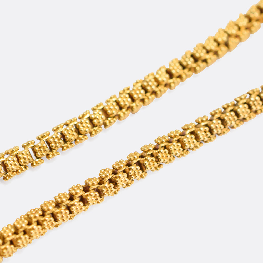 Georgian 18k Gold Flower Link Chain