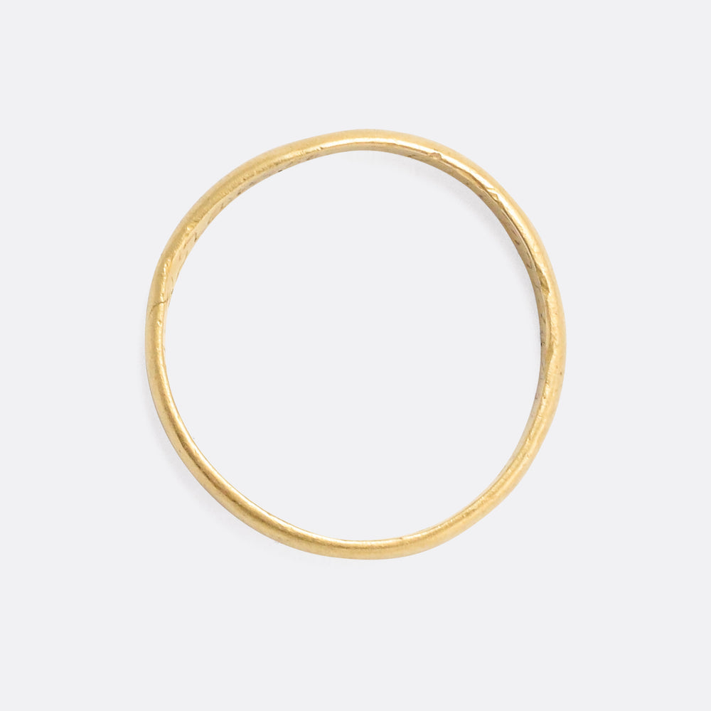 Georgian 18k Gold Posy Ring Read This Wish Me A Kiss
